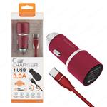 NEWTOP CC02 ALUMINIUM CAR FASTCHARGER 3.0A 1USB CON CAVO TYPE-C ROSSO