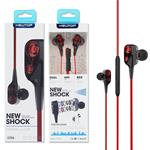 NEWTOP CF26 AURICOLARI UNIVERSALE JACK 3.5MM DOPPIO SPEAKER BLACK/RED